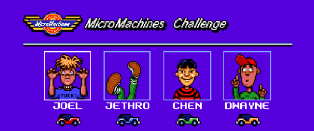micro machines, characters, retrogame, amiga